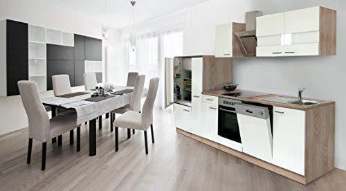 respekta inbouw keuken kitchenette 310 cm eiken Sonoma ruw gezaagd front wit keramische & designer schuine kap