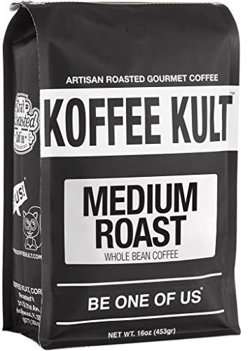 Koffee Kult Medium Roast Coffee Beans, Highest Quality Delicious Coffee, Artisan Blend Freshly Roasted, Whole Bean, 16oz