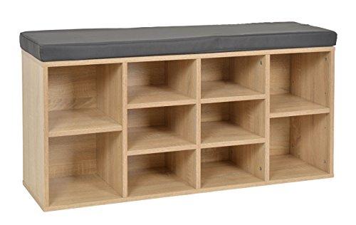 ts-ideen - Banco para pasillo con compartimentos para guardar zapatos - Banco zapatero gris de imitación de madera de roble - 103,5x 54cm