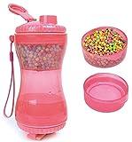 DHGTEP Botella de Agua y contenedor de Comida para Perros portátil para Viajar 2 en 1 Botella de Doble cámara con Dos Tazas para Beber para Perros Gatos en Viajes al Aire Libre (Color : Pink)