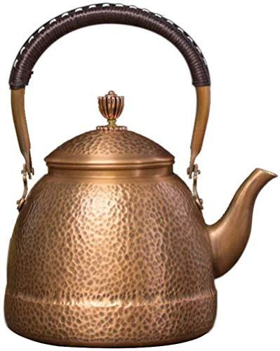 Tetera moderna apta para estufa con mango resistente al calor, tetera de cobre martillado para té a granel y de hojas sueltas