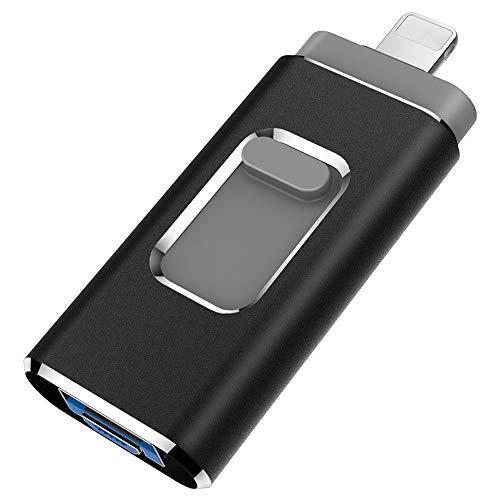 YOHU 256 Go Clé USB pour iPhone et iPad Flash Drive avec Connecteur Extension de Stockage Clef USB Mémoire Photostick pour iOS Andriod Appareils et Mac PC Ordinateur Noir