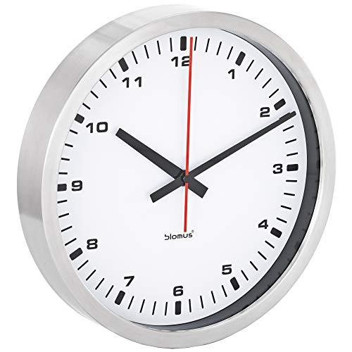 Blomus - Wanduhr ERA - Edelstahl matt - Klarglas und Kunststoff - weißes Zifferblatt - schleichende Sekunde