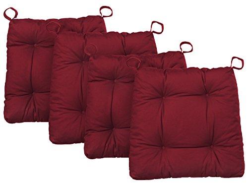 Traumnacht Premium, Cuscino per Sedia, Set di 4, Rossa, 38 x 40 x 7cm
