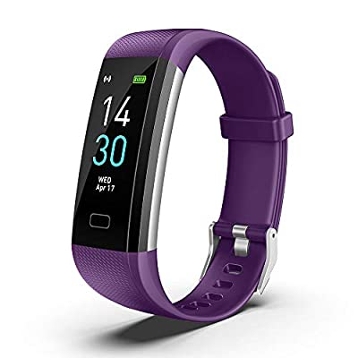 Fitness Tracker Watch Heart Rate Sports Bracelet for Men Women Activity Tracker Pedometer with Heart Rate,Sleep and Swim Waterproof Activity Tracker Smart Watch with iOS and Android Phones (Purple)