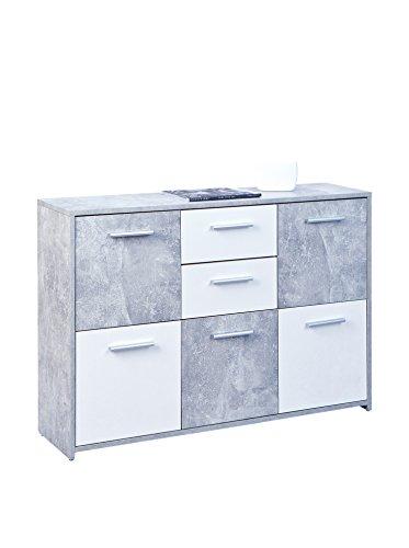 Inter Link Comò Credenza Bassa Certificata FSC, Pannello MDF, Decoro Cemento Bianco, 115 x 77 x 30 cm