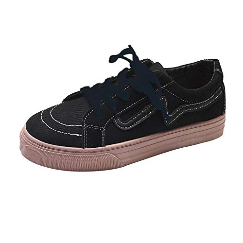 Damen Schuhe, Cramberdy Mode Frauen Flache Freizeit Schuhe Vintage Board Schuhe Canvas Schuhe Damen Halbschuhe Turnschuhe Weiss Sneaker Damen Sommer Schuhe Schwarz Weiß Freizeitschuhe Atmungsaktiv