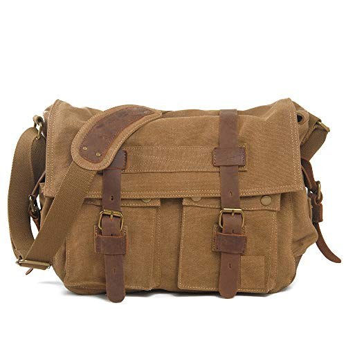 Fashion Vintage School Large Long Strapped Canvas Outdoor Satchel For Men Fashion Travel leather (Color : Brown, Size : S)