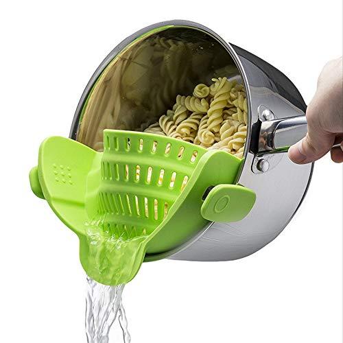 Ogquaton Colador de Silicona, Clip en el colador de Silicona, colador de Verduras para Todos los potes y Cuencos - Verde Lima