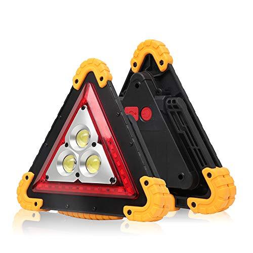 Konesky Car Hazard Warnung Dreieck Licht, 4 Modi USB wiederaufladbare LED Dreieck Taschenlampe Arbeit Straße Notfalllampe für Auto-Notfallreparatur, Pannenhilfe, Beleuchtung