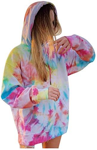 ZALA Sudaderas con Capucha Mujer Suéter Mujer Abrigo Deportiva, Tie Dye Sudaderas con Capucha para Mujer, Tops Ropa otoño Invierno (Multicolor,L)