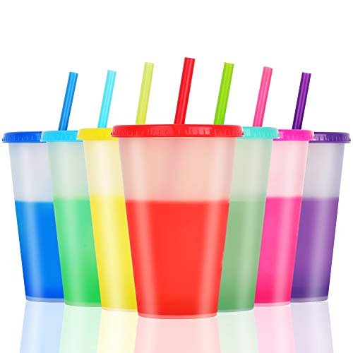 Color Changing Cups Tumblers with Lids Straws - 7 Bulk Tumblers Plastic Cold Cups for Adults Kids 16oz Reusable Tumblers