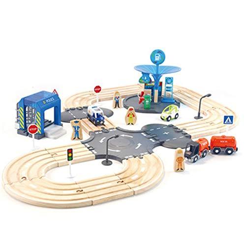 QiHaoHeji Conjunto de vías de Tren de Madera Conjunto de trayos de transfracciones ferroviarias de Madera Conjunto de Tren para niños para niños 2 años y más compatibles Vía de Tren de Madera