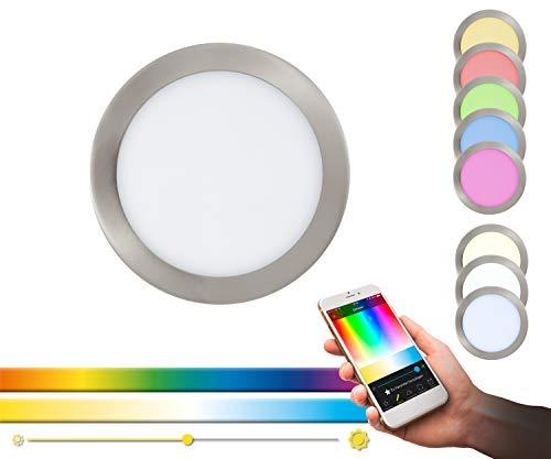 EGLO connect LED Einbauleuchte Fueva-C, Smart Home Einbaulampe, Material: Metallguss, Kunststoff, Farbe: Nickel matt, Ø: 22,5 cm, dimmbar, Weißtöne und Farben einstellbar