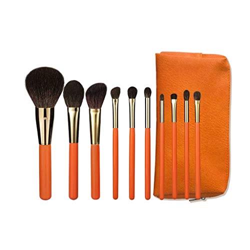 GCX- Brosse Maquillage Ensemble 10 Poils Vrais Cheveux Ensemble Complet de Jeu Brosse Ombre lâche Oeil Brosse Poudre Haut de Gamme Professionnelle Brosse Beau (Color : Orange)