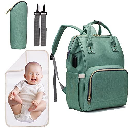 Zaino Mamma Multifunzione Borsa Fasciatoio Impermeabile Bambino con Grande Capacità, con Fasciatoio Portatile-Verde