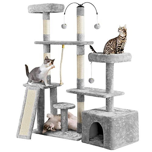 Yaheetech Multi-Level Cat Tree Cat Tower for Indoor Cats, Cat Condo with Scratching Posts, Plush Perch, Rotatable Cat Tree for Kittens/Large Cat, Cat Furniture Play Center, Light Gray