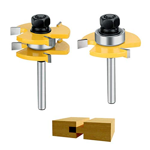 2Pcs Tongue and Groove Router, 1/4 '' Router Bit Set Wood Door Flooring 3 Teeth T Shape,Wood Milling Saw Cutter