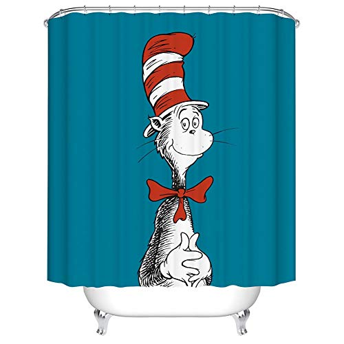 Boyouth Cute Cat in The Stripe Hat Red Bowtie Pattern Digital Print Shower Curtain for Bathroom Decor,Polyester Waterproof Fabric Bath Curtain with 12 Hooks,70x70 Inches,Multicolor