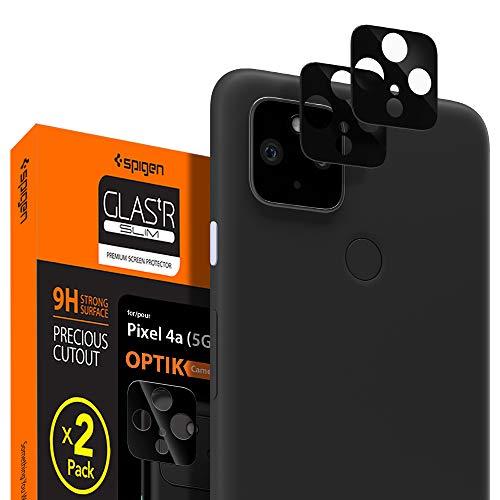 Spigen, 2 Stück, Kamera Schutzglas kompatibel mit Google Pixel 4a (5G), Glas.tR Optik, Hüllenfreundlich, Anti-Kratzer, Kristallklar, Keine Störung für Blitzfunktion Schutzfolie
