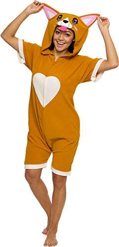 Silver Lilly Corgi Short Sleeve Animal Pajamas - Plush Adult One Piece Summer Cosplay Costume (X-Large) Orange