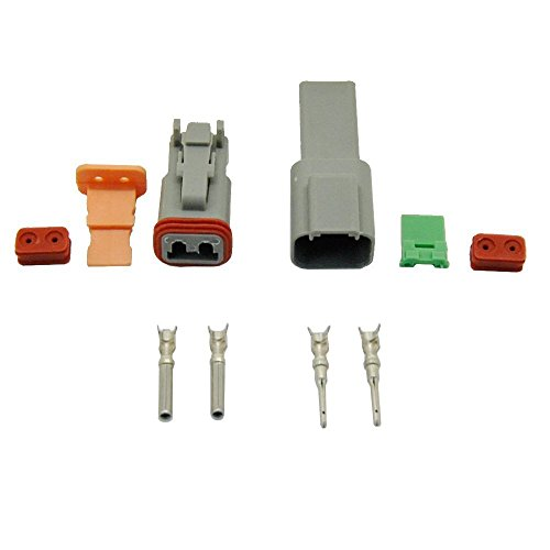 MUYI 10 Kit 2 Pin Way DT Series Connector Waterproof 14-20 AWG 13 Amps Continuous DT04-2P DT04-2S