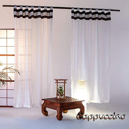 Bali4you Vorhänge Bali Style Cappuccino - Baldachin - Himmelbett – Betthimmel - Gardinen - Vorhänge 2er Set