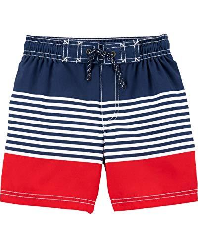 Carter's Boys' Baby Swim Trunk, Red/Blue Stripe, 6 Months