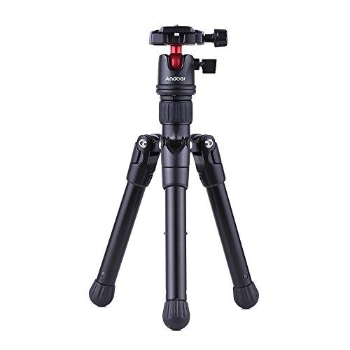 Andoer Mini Soporte de Mesa para trípode de Viaje con Placa de liberación rápida con Cabeza esférica Peso Ligero portátil para Canon Nikon Sony DSLR Camera Camcorder