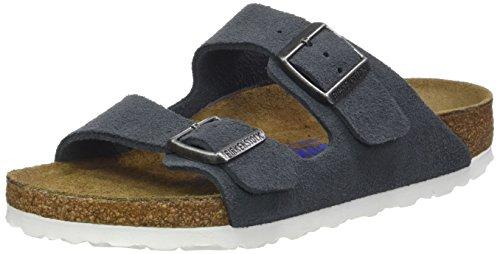 Birkenstock BIRKENSTOCK Damen Sandale Arizona SFB Veloursleder Weichbettung schmal, 36 EU Schmal, Grau Stone Gris