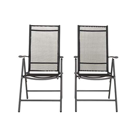Chicreat - Silla plegable de aluminio con respaldo alto reclinable con 7 posiciones, gris antracita y negro (juego de 2)