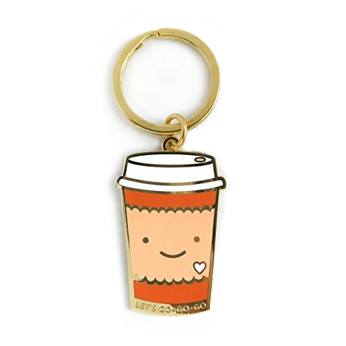 Night Owl Papierwaren Coffee to Go Emaille Schlüsselanhänger Gold