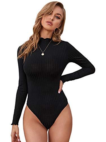 DIDK Damen Strick Bodysuit Bodys Langarm T-Shirt Oberteil Body Schmal Damenbody Langarmshirt Tee Casual Shirts mit Wellensaum Schwarz S
