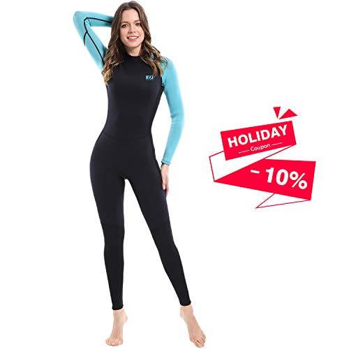 Dark Lightning 3/2mm Wetsuit Women, Women's Wetsuit Long Sleeve Full Suit Premium Neoprene Womens Suit Scuba Diving/Surf/Canoe, Jumpersuit (Size8/M)