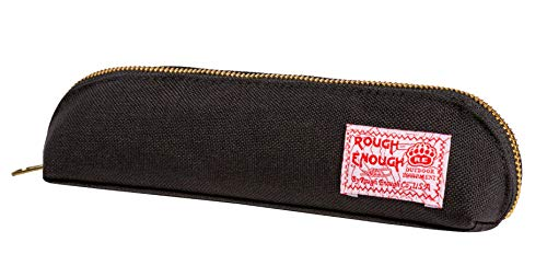 Rough Enough Cute Black Long Slim Pencil Case for Boys Girls Art Supplies Cool Zipper Organizer Colored Pouch Adults Case with Zipper for Teacher Accessories Travel College School Stationary