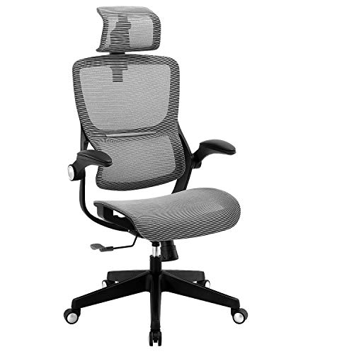 Office Chair Ergonomic Desk Chair High Back Mesh Computer Task Chair Swivel Stool Rolling Home Office Chair with Flip up Arms Adjustable Lumbar...