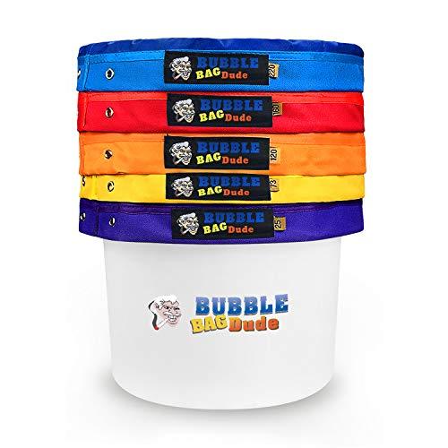 "BUBBLEBAGDUDE Bubble Bags 5 Gallonen 5 Beutel Set Herbal Ice Essence Extraction Bag Kit mit 10 x 10 ""(25 Mikron) Presssieb und Aufbewahrungsbeutel"