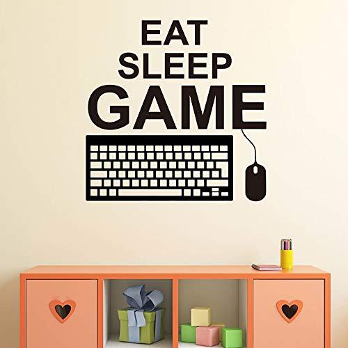 Eat Sleep Game Etiqueta de la pared Juego Teclado Ratón Controlador Jugador Sala de juegos Niño Dormitorio Mural Etiqueta de la pared A7 47x47cm
