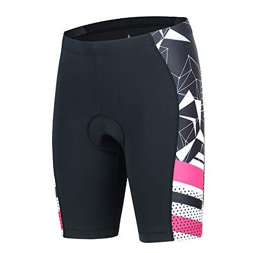 BEROY Radhose Damen Gepolstert Fahrradhose Kurz Löffler mit Sitzpolster Radlerhose Radsport Shorts Frauen MTB Rosa XL