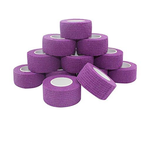 COMOmed, garza elastica, benda flessibile, in tessuto non tessuto, nastro adesivo terapeutico, benda coesiva, adatta per la pelle sensibile, 2,5 cm x 4,5 m, 12 rotoli
