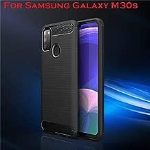 Bracevor Brushed TPU Back Cover for Samsung Galaxy M30s - Black | Rugged Armor Case | Carbon Fiber Texture