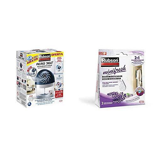 Rubson AERO 360º Deshumidificador recargable sin cable, absorbe humedad + Minifresh, deshumidificador y ambientador de lavanda, bolsas deshumidificadoras en formato percha