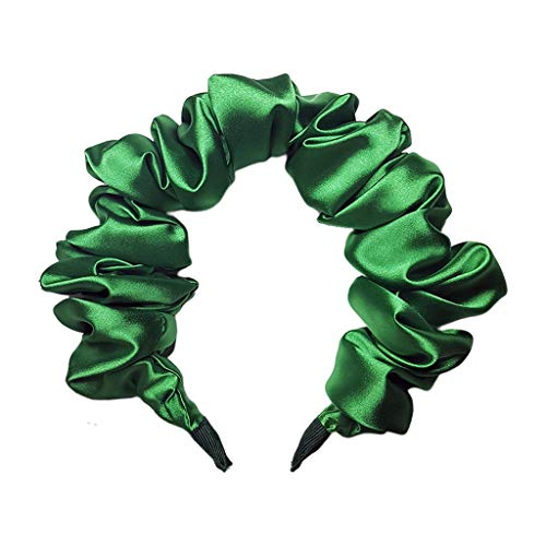 ruiruiNIE Imitazione Seta Donna cerchietti per Capelli Lucidi Bolla Rugosa Colon Cerchietto Verde