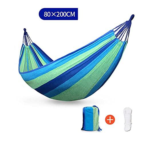 Eantpure Hamaca al Aire Libre Anti-Lateral Campo Exterior Puede Dormir en línea Camping Cuerda Colgante Columpio-Raya Azul 80 * 200