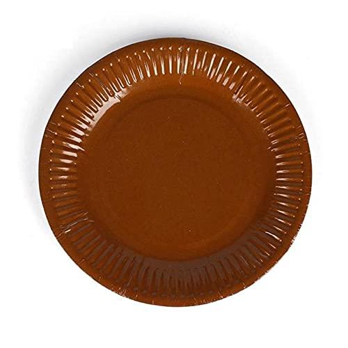 GODPAJ Plaine Sólido, colores ambientales, redondos, económicos, platos de papel, fiesta, vajilla, bandeja plana, suministros desechables platos, barbacoa, pastel, marrón