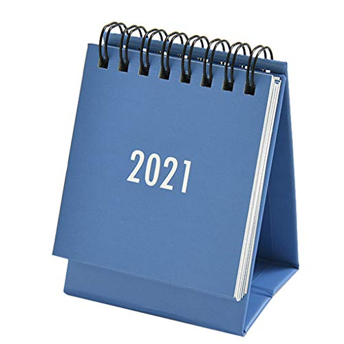 rongweiwang 2021 Calendario de Escritorio Tabla Anual Mensual Inglés planificador planificador de la Agenda de Escritorio Organizador, Azul