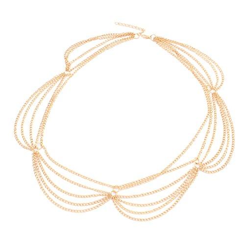 Lurrose gouden kwast voorhoofd ketting minimalistische metalen kopstuk voor vrouwen goud