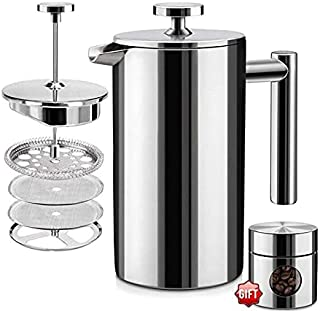 Beauenty French Press Double Insulated 340 Stainless Steel Coffee Maker 4 Level Filtration System, No Coffee Grounds, Rus...