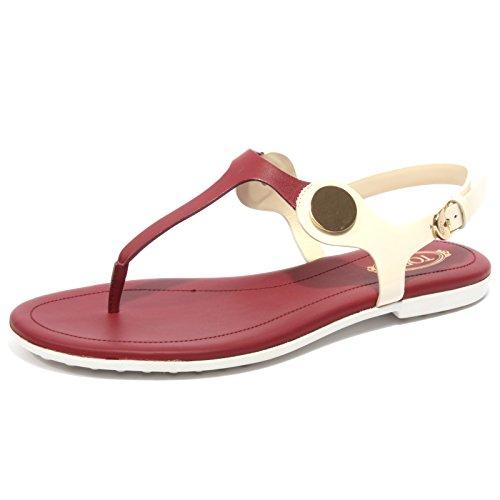 Tod's B1672 Infradito Donna Sandalo Panna/Amaranto Flip Flops Shoe Woman [40]