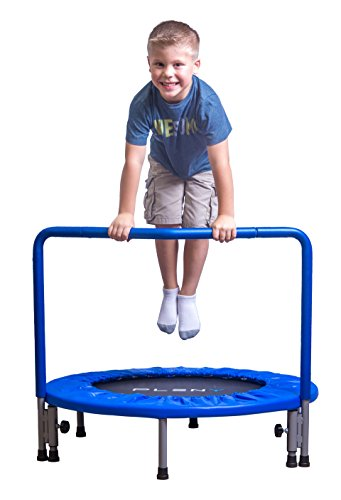 PLENY 36' Boys Indoor Trampoline with Handle, Safe Trampoline for Kids (Navy Blue)